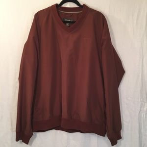 Eddie Bauer Rust V-Neck Windbreaker Size XL Tall